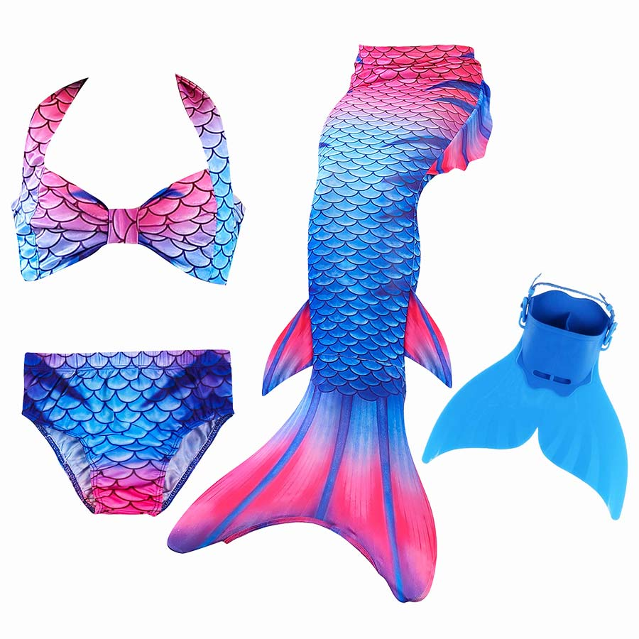 Children Swimmable Mermaid Tail With Monofin Fin Bikinis Set Girls Kids Swimsuit Mermaid Tail Costume Cosplay for Girl Swimming