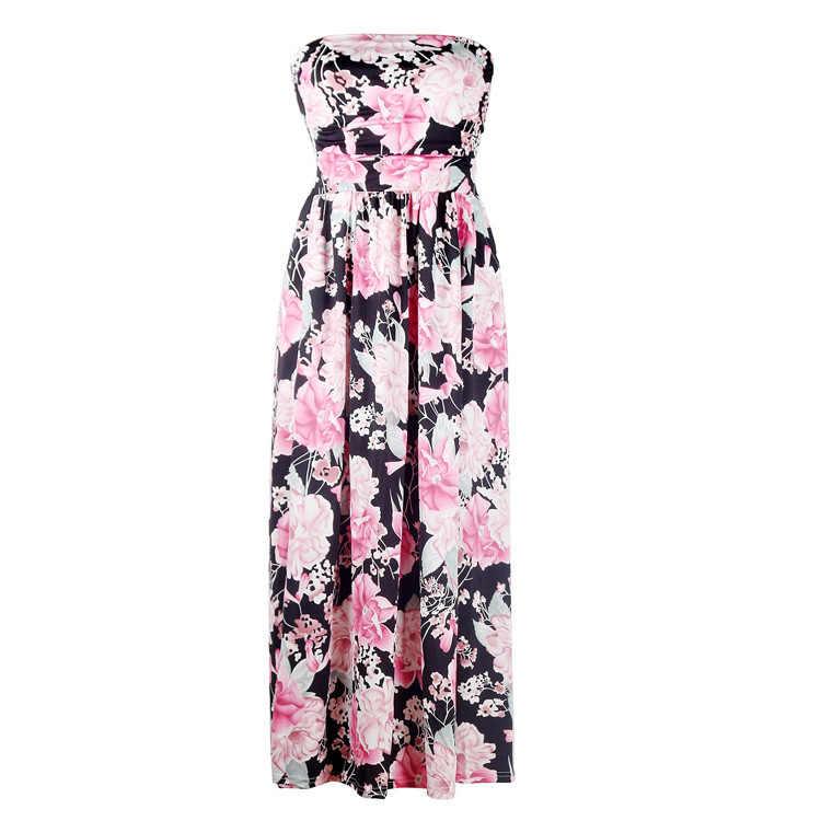 Pittige vrouwen jurk strapless mouwloze Zomer Lange Jurk nieuwe strand bloemenprint strand jurk vrouwelijke lange jurk
