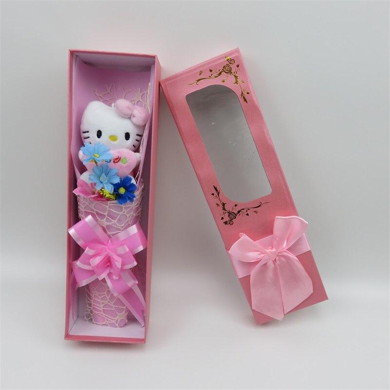 100% hamdmade 3 fleurs de simulation + 7 Hello Kitty peluche animaux en peluche chats jouet dessin animé fleurs bouquet saint valentin cadeau - 6