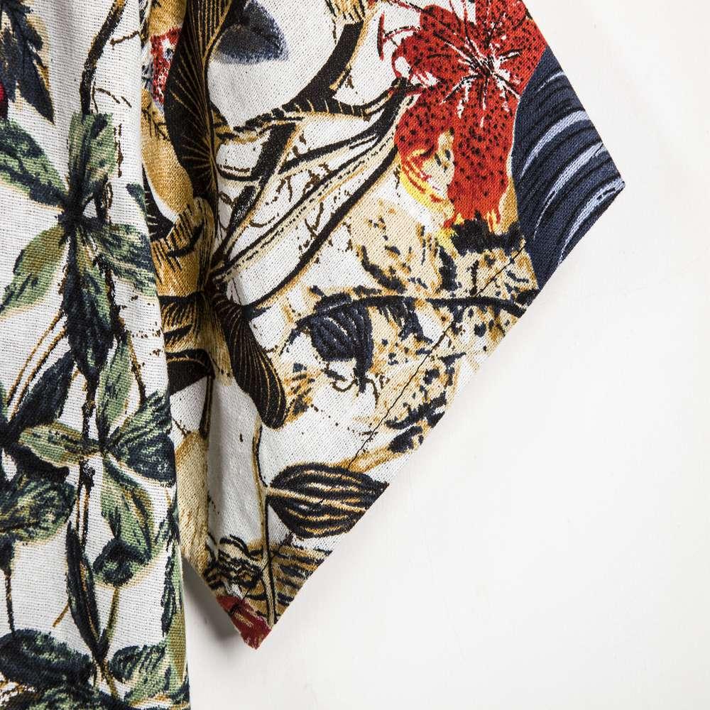Summer Man Shirt Mens Ethnic Printed Stand Collar Cotton Linen Stripe Short Sleeve Loose Hawaiian Henley Shirt hawaiian shirt 4