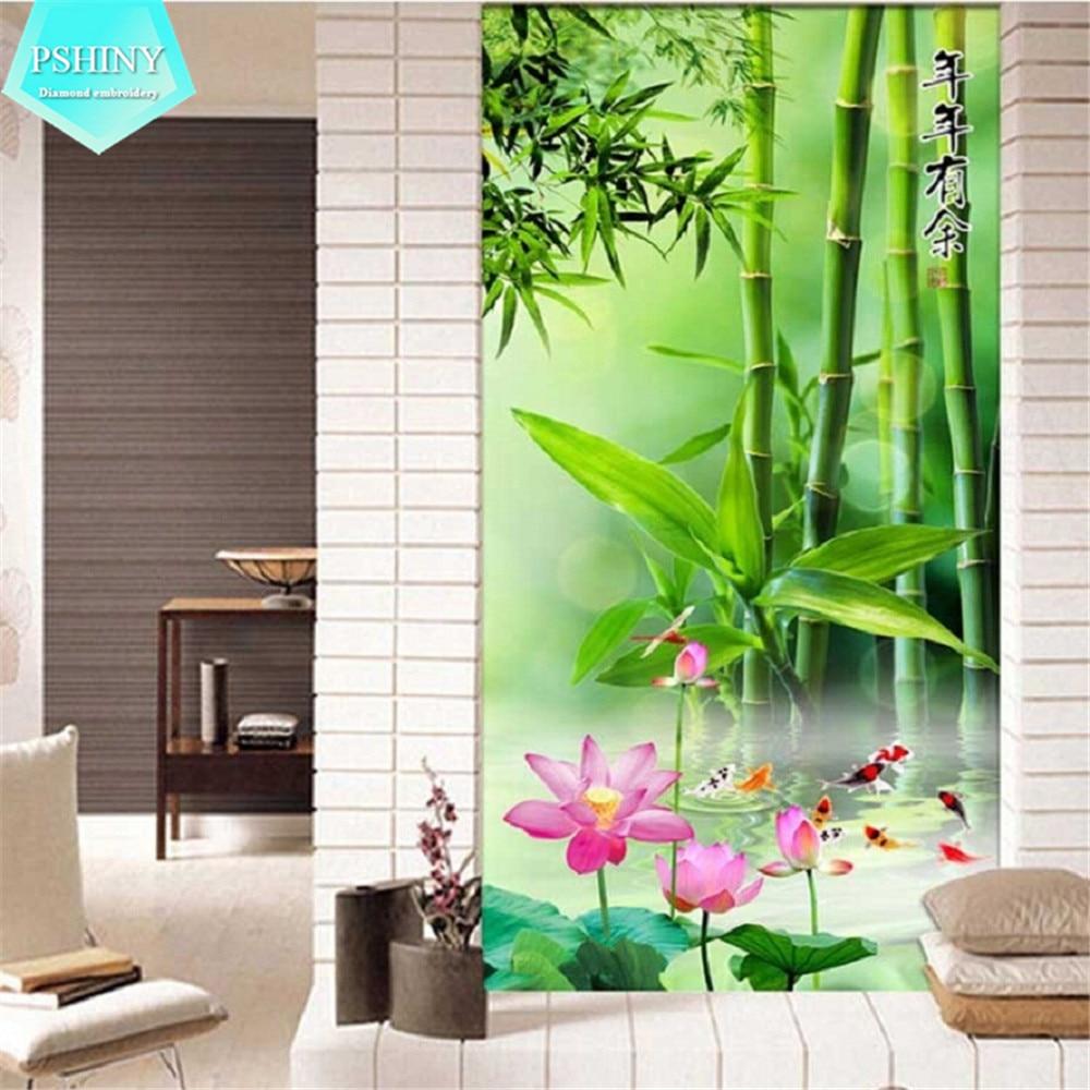 PSHINY 5D DIY diamant broderi salg bambus landskap Full bore runde - Kunst, håndverk og sying