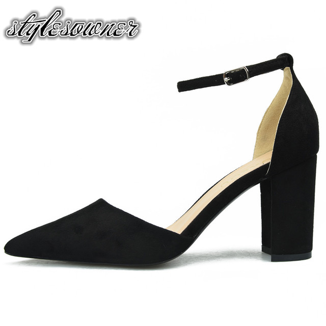 Stylesowner 2018 British Style Thick Heel Classic Woman Single Shoes High  Heels Hollow out Shallow Pointed