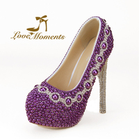 Love Moments Wedding High Heels Shoes Purple Beads Pearls Luxurious Handmade Rhinestone Platform Wedding Dress Party
