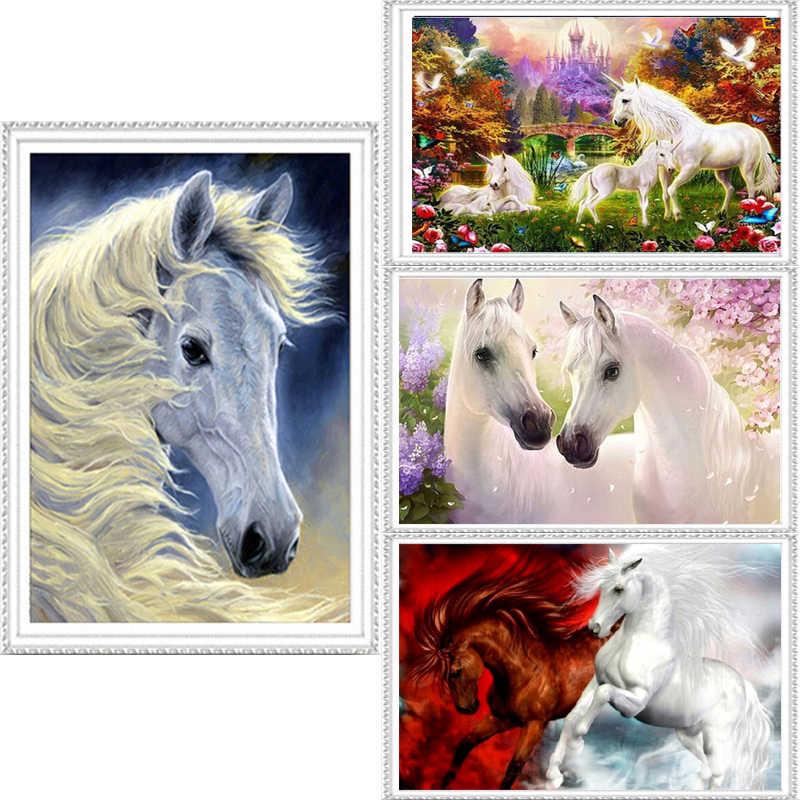 Deux cheval blanc 40*30 cm forage diamant broderie 3d diamant point de croix mode diamant mosaïque photos de strass