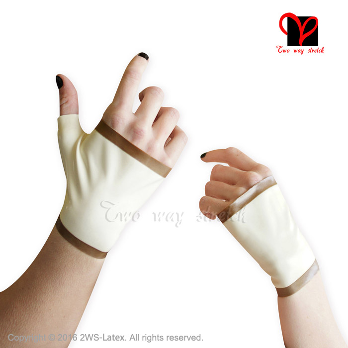 Latex Short Gloves Rubber Wrist Length Mittens Fingerless Gauntlet Hand Wear Catsuit Plus Size Latex Gloves ST-023