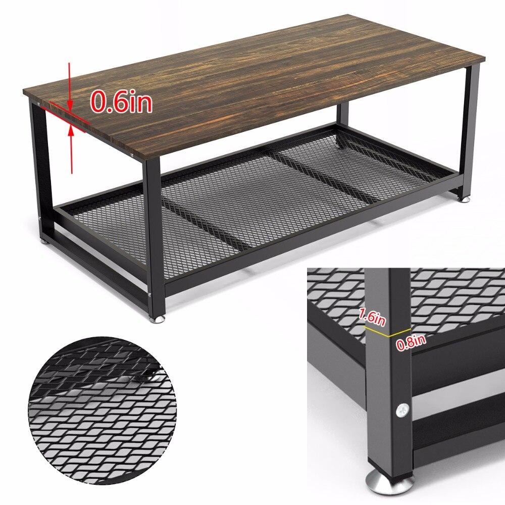 Table basse Dewel avec étagère de rangement industrielle moderne rustique 47 pouces Table basse pour salon - 4