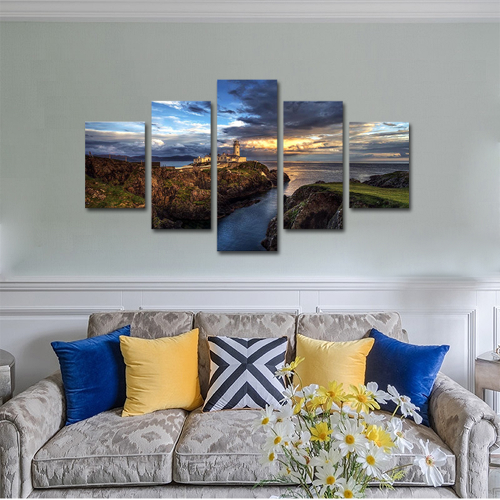 Unframed Canvas Painting Bay Cliff Castle Dark Clouds Landscape Photo Prints Wall Pictures For Living Room Wall Art Decoration