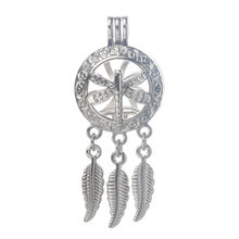 6pcs Silver Dreamcatcher dragonfly Pearls Cage Jewelry Making Bead Cage Pendant Essential Oil Diffuser Locket For Oyster Pearl(China)