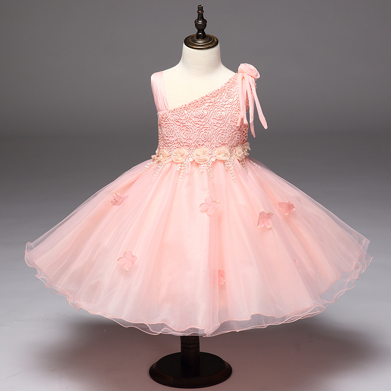 Retail Lace Rose One Shoulder   Flower     Girl     Dress   With Ribbon Belt Appliques Beauty   Girls   Party Gown Pink   Dress   L9022