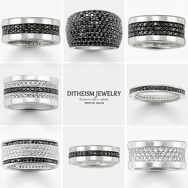 Black CZ Cocktail Rings, 2018 New 925 Sterling Silver Blue Stone Fashion Jewelry Trendy Anniversary TS Gift For Women and Men