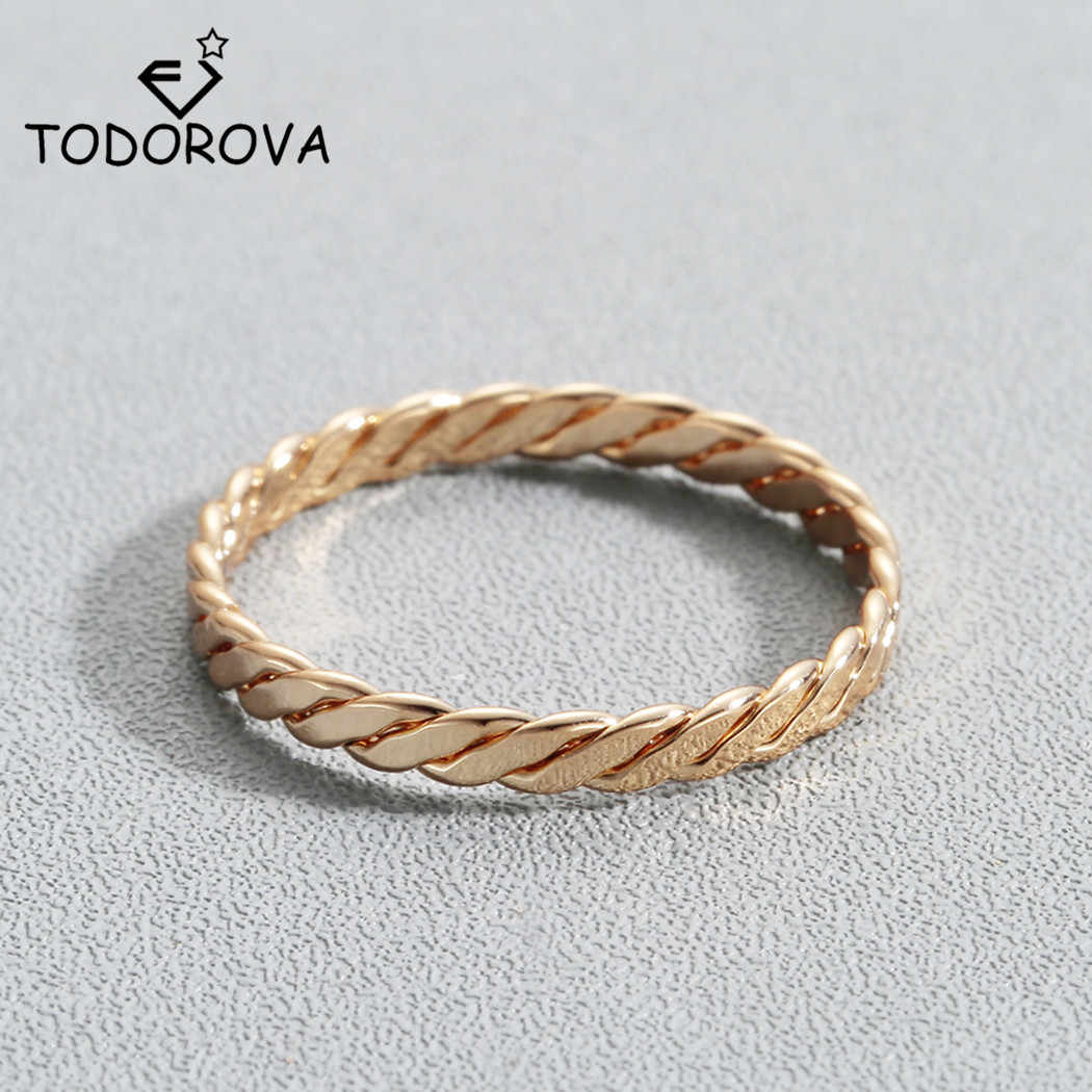 05a037e41 Todorova Round Rings for Women Minimalist Jewelry Thin Gold-color Twist Rope  Stacking Wedding Rings