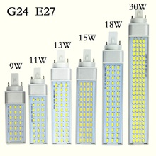 Brand New LED Lamp G23 G24 E27 9W 11W 13W 15W 18W 30W LED downlight Horizontal Plug lamp Light Bombillas led Corn Bulb Spotlight(China)