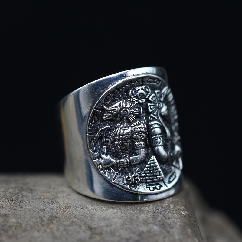 S925 pure Silver Ancient Egyptian God Opening Ring Horus Anubis Rangers Coin Thai Silver Ring