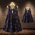 1pcBaby Girls Dresses 2016 Summer Matching Mother Daughter Dress Fashion Print Cotton Family Look Zipper Mom And Daughter JY6819