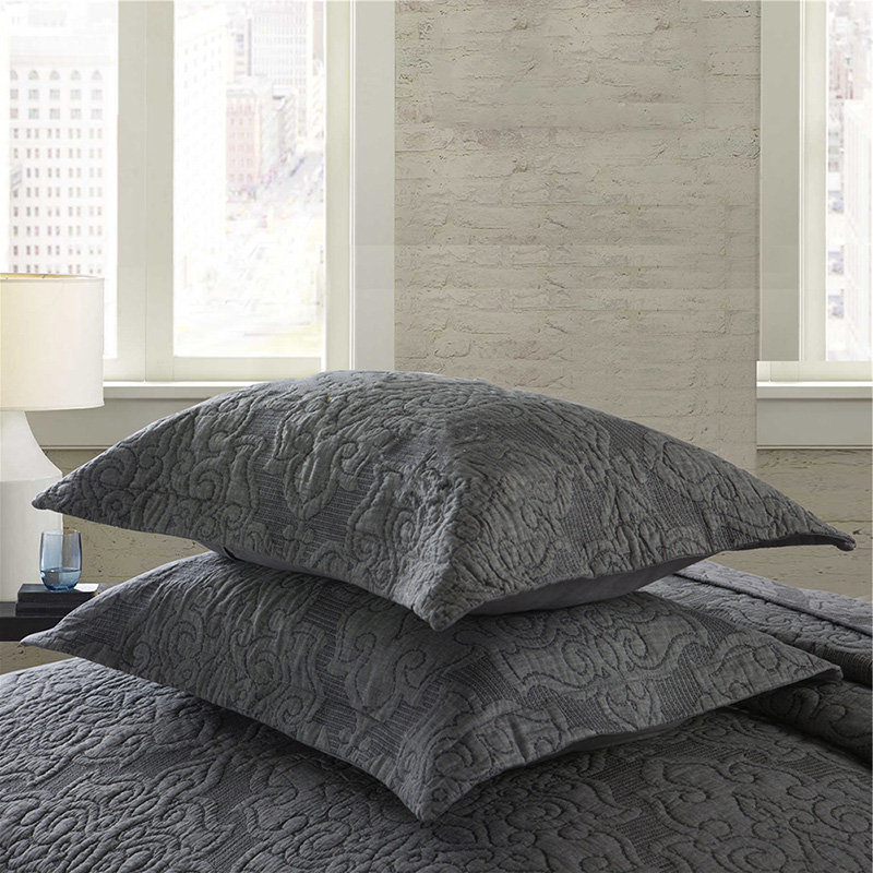 Quality Bedspread Cotton Quilt Set 3pcs Coverlet Solid Embroidered Quilted Quilts Bed Cover King Queen Size Bedding Gray Blanket in Quilts from Home Garden