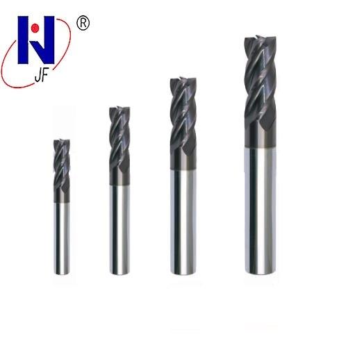 Купить с кэшбэком JF hard steel GES 1mm 1.5mm 2mm 2.5mm 3mm 3.5mm 4mm    4 flute  end mills with straight  shank milling cutter HRC70  PT Coated