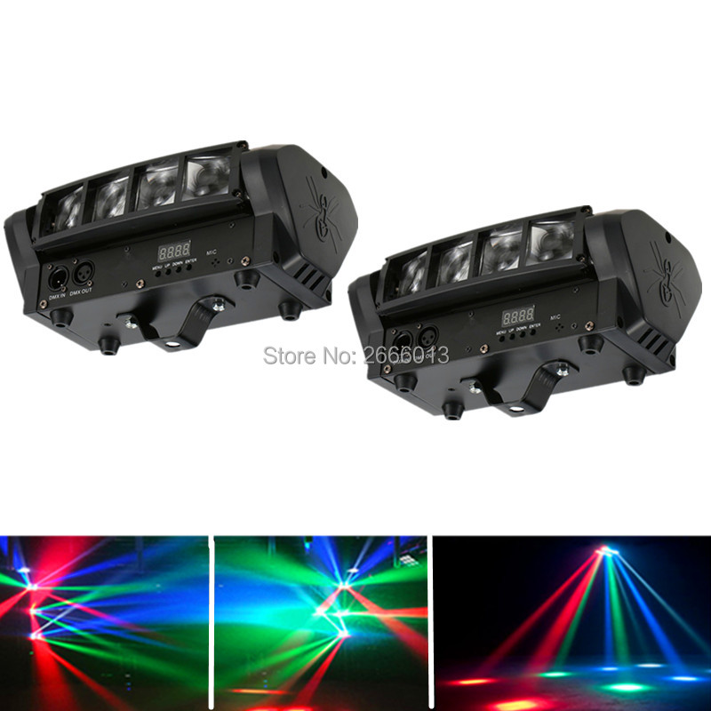 цены 2pcs/lot 8X10W LED Spider Light RGBW Mini LED Beam Light DJ Disco Lights DMX512 LED Moving Head Stage Effect Lighting Party Lamp