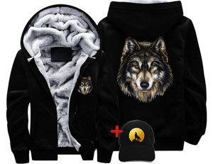 Image 2 - Veste Loup หมาป่า DREAM ผู้ชายผู้หญิงหนาเสื้อแจ็คเก็ตฤดูหนาวที่อบอุ่นหมาป่าน่ากลัว Cool Street กำมะหยี่เสื้อกันหนาว hoodies