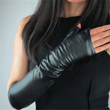 Genuine Leather Long Style Woman Gloves Semi-Finger Fingerless 40cm Pure Sheepskin Black With Lined Female Mittens TB100