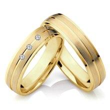 Alianzas clásicas Color oro promesa aniversario pareja conjunto de anillos de boda para hombres y mujeres titanio Acero inoxidable joyería