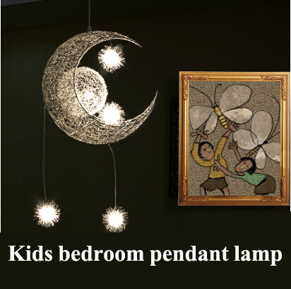 2016 Modern Creative Christmas Gift G4 LED Magic Moon & Star Ceiling Children Kid Child Bedroom Home Pendant Lamp Light Lighting creative star moon lampshade ceiling light 85 265v 24w led child baby room ceiling lamps foyer bedroom decoration lights