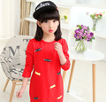 Spring Autumn Children Backing Long Girls Long Sleeved T-shirt Korean Kids Clothing Red White Grey