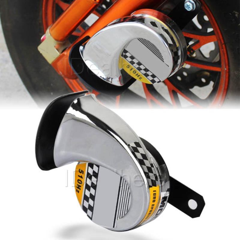 Mayitr Universal Motorcycle Sound Horn DC 12V 40W 510Hz Snail Speaker Motorbike Racing Horn Loud Chromed Silver