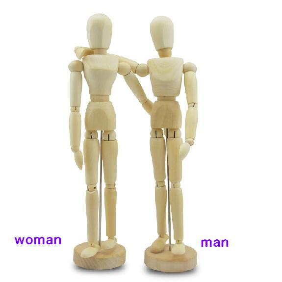 12 Inch 30cm wooden model Comic&Sketch  movable woman man doll for optional  Art Supplies 12 inch 30cm wooden model comic