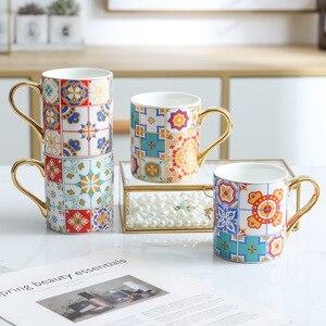 Роскошная кофейная кружка с золотой ручкой в стиле барокко, винтажная керамическая чаша для чая и воды для мам и женщин, свадебный подарок 300...