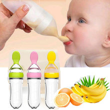 лучшая цена Newborn Baby Squeezing Feeding Bottle Silicone Training Rice Spoon Infant Cereal Food Supplement Feeder Safe Tableware Tools