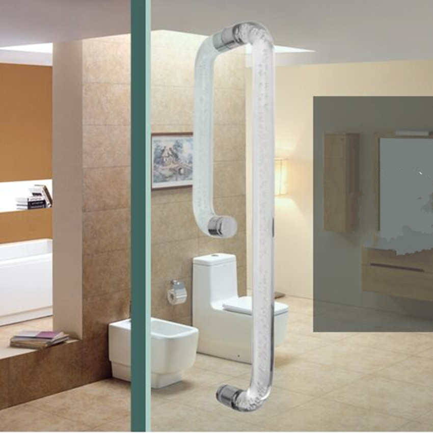 Bathroom sliding door handle glass door space aluminum handle shower room Fashion handle door transparent bubble acrylic armrest bathroom sliding door handle glass door space aluminum handle shower room both sides handle door bubble acrylic armrest modern