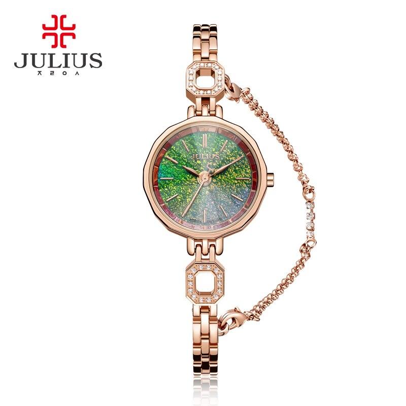Small Julius Women's Watch Japan Quartz Hours Fine Fashion Dress Stainless Steel Chain Bracelet Girl Christmas Gift Box 980