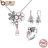 BAMOER 100 925 Sterling Silver Pink Flower Poetic Daisy Cherry Blossom Jewelry Sets Wedding Engagement Jewelry