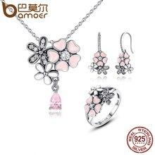 2f4baa85c488 BAMOER 100% de Plata de Ley 925 de flor Rosa poética Daisy flor de cerezo nupcial  conjuntos de joyas de boda joyas de compromiso.
