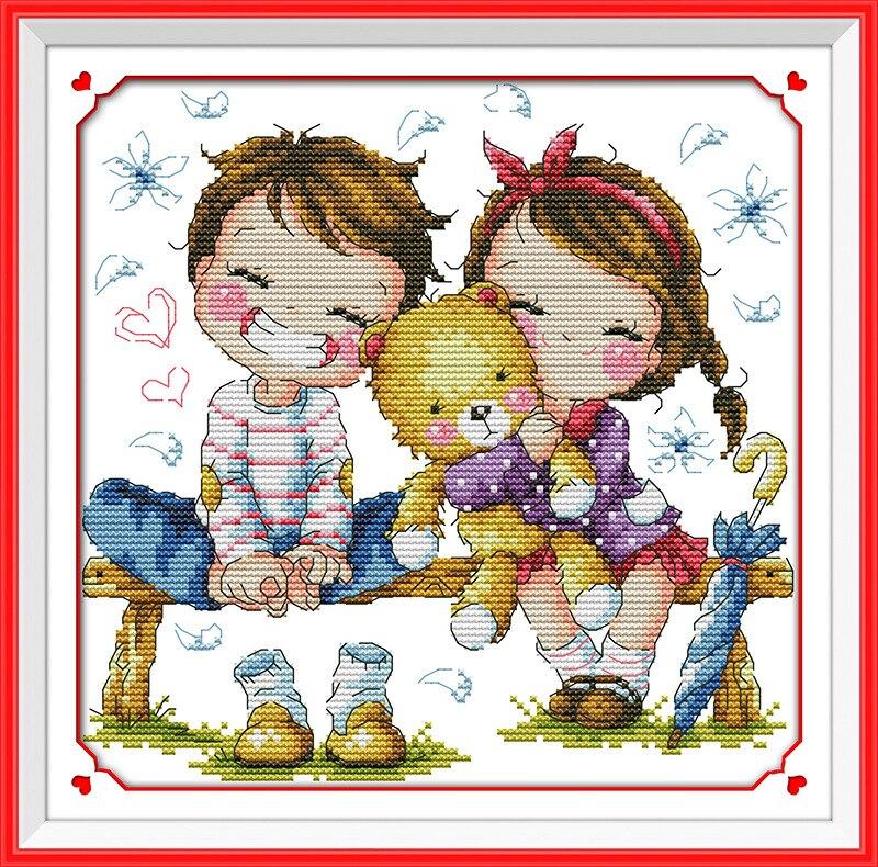 Cross Stitch Kit Girl Baby Certificate Cross Stitch Count Cross Stitch Kits Dmc Thread 144*184stitch 36*43cm
