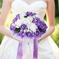 Espuma Rose Wedding Bouquet Encaje bordes hojas estambre Cinta De Seda Diamante Perlas Celebración Decoración Floral