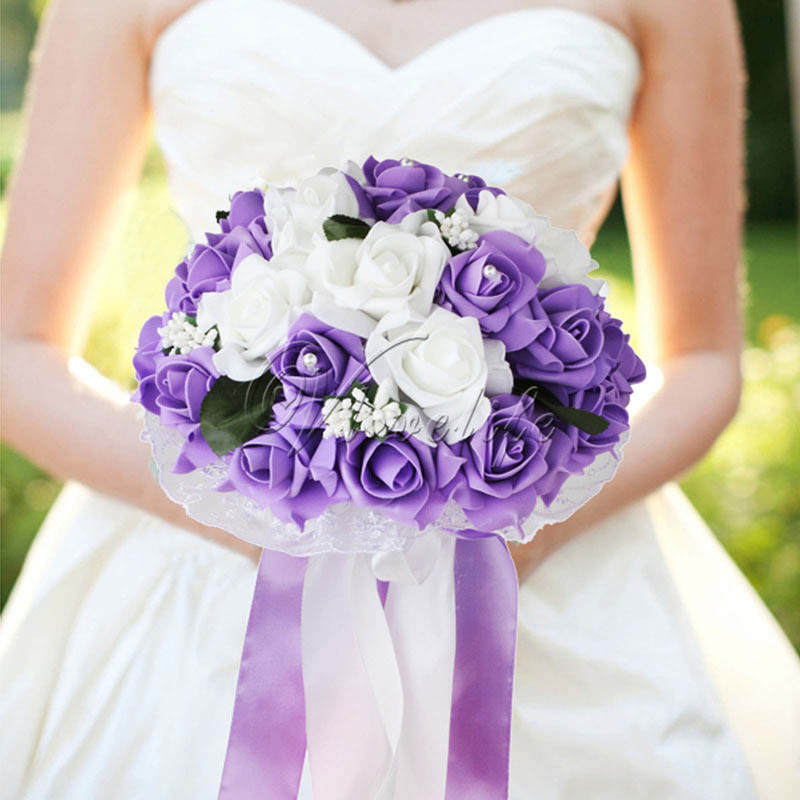 Foam Rose Wedding Bouquet Lace edging leaves stamen Silk Ribbon Diamante Pearls Holding Flower