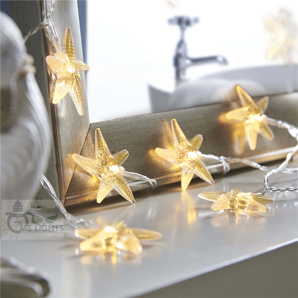 20/40 Starfish Leds Fairy Lights Battery Operated Christmas String Lights For Wedding Baby Rooms Party Home Xmas Tree Decoration Jade White Lights & Lighting