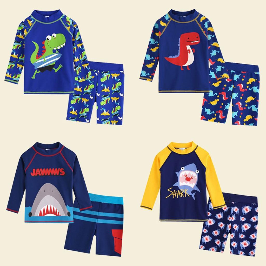 Kid Baby Boy Long Sleeve 3D Dinosaur Cartoon Beach Swimwear Bathing Set Clothes Children Swimwear Beachwear Bathing Swimmer