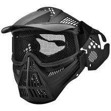 מגן מסכת פנים מלאים פלדת רשת מגן מסכת פיינטבול טקטיקות מסכת תחרות מגן ציוד מגן מסכה