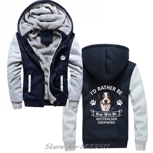 Image 3 - Winter Sweatshirt Australian Shepherd hoodie ICH WÜRDE Eher Hause Mit Meinem Aussie Hund Casual Männer Jacke Harajuku Streetwear