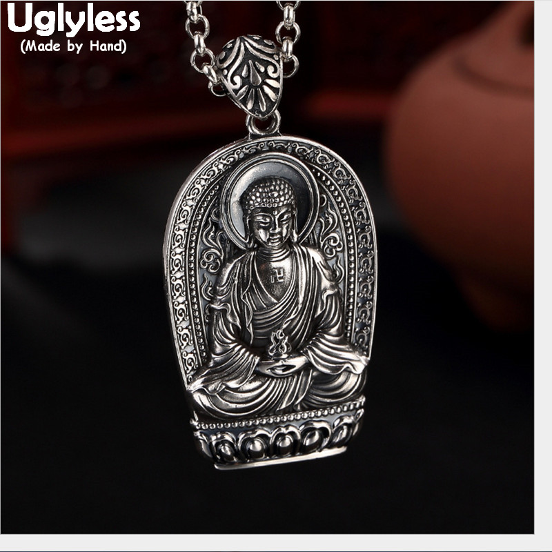 Uglyless 100% Real Solid 990 Silver Handmade Buddha Pendants Necklaces no Chains Thai Silver Buddhist Pendant Vintage Fine JewelUglyless 100% Real Solid 990 Silver Handmade Buddha Pendants Necklaces no Chains Thai Silver Buddhist Pendant Vintage Fine Jewel