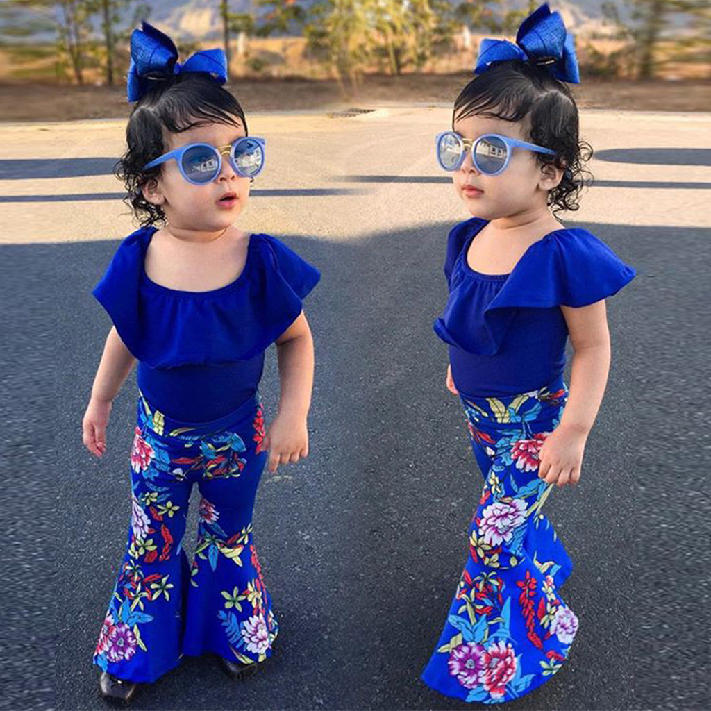 Toddler Baby Girls Off Shoulder Solid Tops+Floral Print Pants+Headband Outfits Toddler Clothes Girls Clothing Roupa Infantil