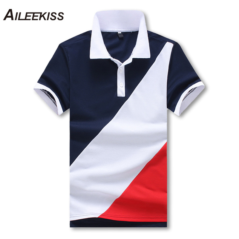 2019 Summer Men   Polo   Shirt Vacation Soft Men's Clothing Contrast Color Man Short Sleeve Camisas   Polo   Casual Stand Collar XT787
