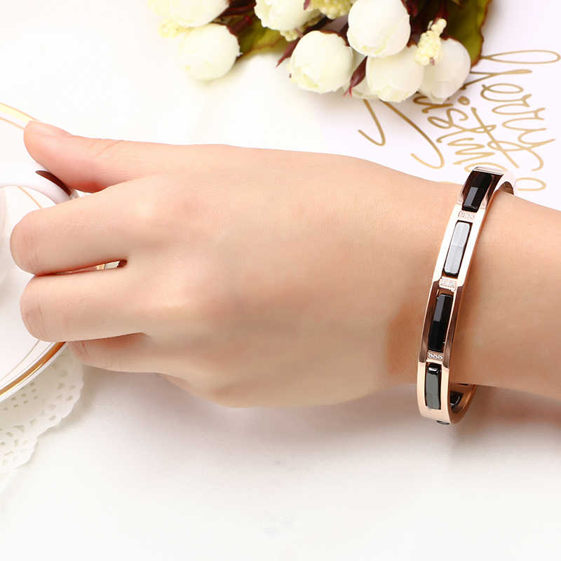 High Quality Rose Gold Color Anti-Allergy Ceramic bracelet bangle for Women Fashion Jewelry Australia Crystal Bracelet Wedding
