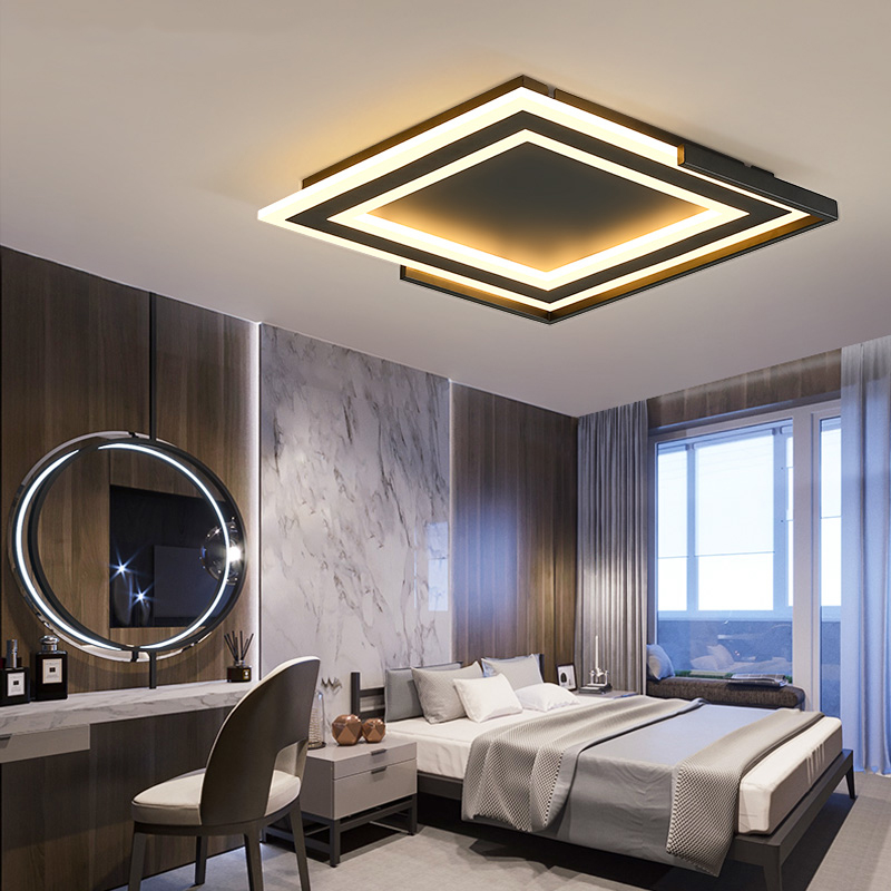 Square Modern Led Ceiling Chandelier Black or White Living Room Bedroom Study Room Deco Minimalism Led