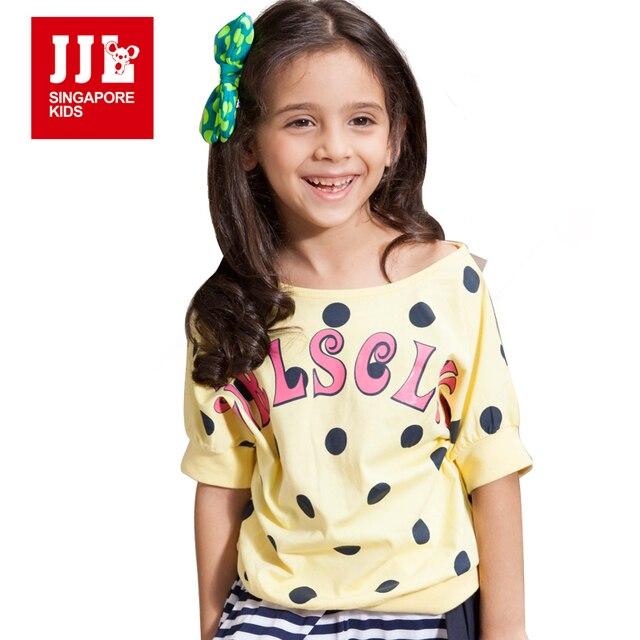 Девушки футболки Полька Dot Pattern Детские футболки для Одежда Для девочек 2016 Летом Стиль Бренда Детей Футболки Девушки Топы 6-15Y