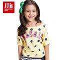 Meninas T camisas Polka Dot Pattern Crianças camisas de T para meninas Roupas de Verão 2016 Estilo Da Marca Crianças Camisetas Partes Superiores Das Meninas 6-15Y