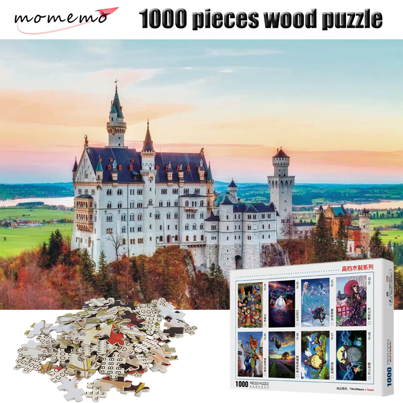 Momemo Neuschwanstein Castle Puzzle 1000 Pieces Landscape Figure Adult Wooden Jigsaw Puzzle Children Educational Toys Gifts