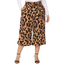 WHZHM Sashes Drawstring Wide Leg Pants Hign Waist Casual Woman Spring Trousers High Quality Leopard Print Loose Pants Ladies slogan print drawstring waist pants